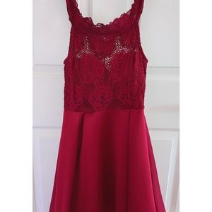 Off-the-Shoulder Lace Maroon Homecoming Dress